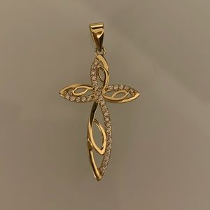 Jewelry - 925 Sterling silver pendant cross gold tone